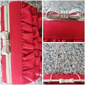 Expressions NYC Red Ruffle Evening Clutch